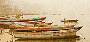Illustrative Photo Prints - River Scene On The  Ganges River Print by Karel Noppe