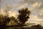 Seascape With A Boat Posters - River Scene with a Ferry Boat Poster by Salomon van Ruysdael