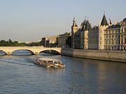 Sites Tapestries Textiles Prints - River Seine and Conciergerie. Paris Print by Bernard Jaubert