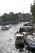 Barges Prints - River Seine. Paris Print by Bernard Jaubert