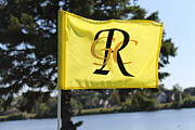 Golf Flag Prints - River Side Golf Course Print by Pamela Walrath