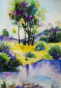 Watercolor  Drawings - River by Slaveika Aladjova