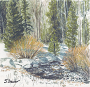 Snow Covered Pastels Prints - River Song Print by Susan Driver