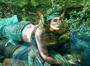 Elvin Posters - River Sprite Elfin Mermaid Poster by Cyoakha Grace