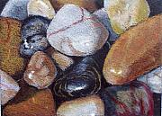 Pebbles Drawings Prints - River Stones Print by Joyce Geleynse