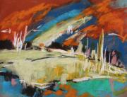 Abstract Expression Pastels - River Storm by John  Williams