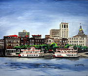 Lanscape Paintings - River street Savannah by Jude Darrien