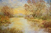 Autumn Scenes Pastels Posters - River Sunrise  Poster by Barbara Smeaton
