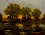 Jan Blencowe Paintings - River Sunset by Jan Blencowe
