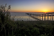 Dock Prints Posters - River Sunsrise - Florida Sunrise Scenic Poster by Rob Travis