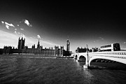 Palace Of Westminster Prints - River Thames And Red Bus Going Over Westminster Bridge At The Palace Of Westminster London Print by Joe Fox
