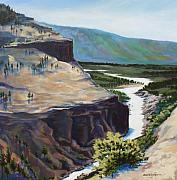 Canyon Paintings - River Through the Canyon by Sarah Grangier