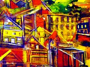 Red Roof Mixed Media Prints - River Town Cincinnati Ohio Print by Mindy Newman