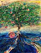 Spiritual Drawings Pastels Prints - River tree Print by Laurie Parker