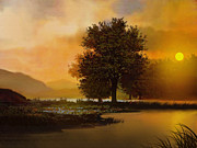Sunset Greeting Cards Digital Art Prints - River Tree Print by Robert Foster