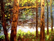 Original Art. Pastels Posters - River Trees Poster by John  Nolan