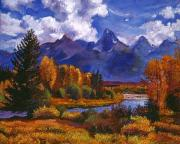Peaceful Scenery Paintings - River Valley by David Lloyd Glover