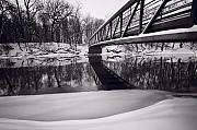 Snow . Bridge Framed Prints - River View B and W Framed Print by Steve Gadomski