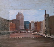 Riverwalk Mixed Media Prints - River View layered Print by Anita Burgermeister