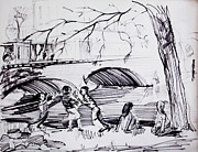 Water Town Drawings - River Walk Children Playing by Bill Joseph  Markowski