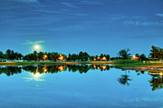 White River Scene Prints - River Walk Park Full Moon Reflection 1 Print by Connie Cooper-Edwards