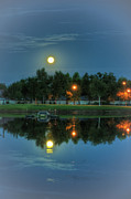 Tree Over Water Prints - River Walk Park Full Moon Reflection 2 Print by Connie Cooper-Edwards