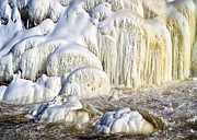 White Water Posters - River Wall of Snow and Ice Poster by Bob Orsillo