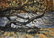 Fall  Of River Paintings - River Willow 2 by Lynne Haines