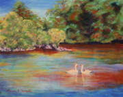 Swans Pastels - River Wye Swans by Marion Derrett