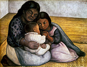 Diego Rivera Framed Prints - Rivera: Mother & Children Framed Print by Granger