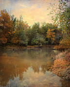 Autumn Landscape Art - Riverbank 2 by Jai Johnson