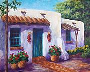 Red Geraniums Painting Posters - Riverbend Adobe Poster by Candy Mayer
