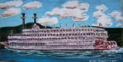 Mississippi River Painting Originals - Riverboat Queen by Mitchell McClenney