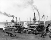 Barrels Prints - Riverboats On The Mississippi River Print by Everett