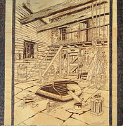 Oil Pyrography - Riverhouse boat repair by Rj Schiller-artbyfire