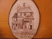 Stone House Pyrography Prints - Riverhouse Print by Rj Schiller