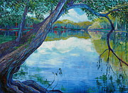 River View Paintings - Rivers Edge by Linda J Bean