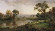 Early Painting Metal Prints - Riverscape in Early Autumn Metal Print by Jasper Francis Cropsey