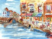 Water Scenes Painting Prints - Riverside Bistros Print by Arlene  Wright-Correll