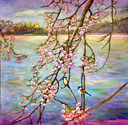 Cherry Blossoms Painting Prints - Riverside Wonders I Print by Eileen  Fong