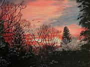 Wyoming Paintings - Riverton Sunset by Karen  Peterson