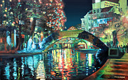 Christmas Lights Prints - Riverwalk Print by Baron Dixon