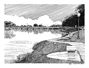 Southern Drawings Prints - Riverwalk on the Pecos Print by Jack Pumphrey