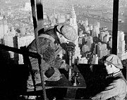 Black And White Photos Posters - Riveters on the Empire State Building Poster by LW Hine