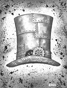 Black Top Drawings Prints - Riveting Top Hat Print by Adam Zebediah Joseph