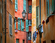 Azur Framed Prints - Riviera Alley Framed Print by Inge Johnsson