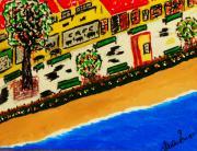 Riviera Beach Cafe Print by Adolfo hector Penas alvarado