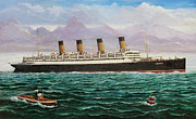 Liner Paintings - RMS Aquitania  by Brad Thomas