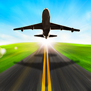 Flight Prints - Road And Plane Print by Setsiri Silapasuwanchai
