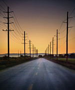 Mountain Road Posters - Road And Power Lines At Sunset Poster by Www.jodymillerphoto.com